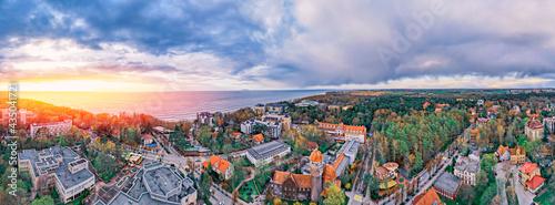 Obraz na płótnie Panorama aerial view cityscape Svetlogorsk Kaliningrad Russia, sunny summer day