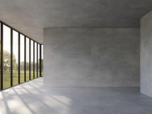 Empty Concrete Room With Nature View 3d Render,There Are Polished Concrete Floor ,wall And Ceiling,There Are Large Window Look Out To See The Garden View,sunlight Shining Into The Room.
