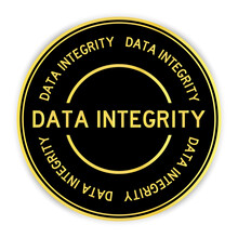 Black And Gold Color Round Label Sticker With Word Data Integrity On White Background