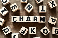 Wood Letter Block In Word Charm On Wood Background With Another Alphabet