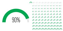 Set Of Semicircle Arc Percentage Diagrams Progress Bar Meters From 0 To 100 Ready-to-use For Web Design, User Interface UI Or Infographic - Indicator With Green