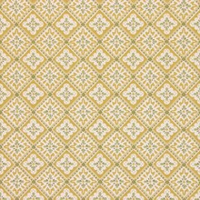 Vintage Wallpaper Texture With A Yellow And Green Diamond Shaped Floral Pattern