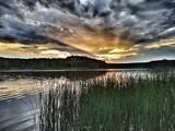 Fototapeta Fototapety do łazienki - Zachód słońca . Jezioro Niedźwiedno ,Lubuskie