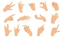 Female Hand Gestures Flat Vector Elements