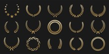 Golden Laurel Wreath Round Frame Set. Rings With Gold Leaves, Circle Award Logo Or Emblem Vector Illustration. Roman Circular Badge For Anniversary, Wedding, Award Isolated On Dark Background