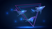 Vector 3d Whale On A Blue Background In Virtual Space