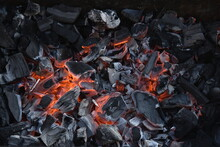 Air Blowing Of Coal, Hot Coals For Roasting Red Meat