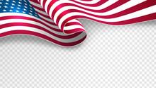 USA Waving Flag On Transparent Background Template For Poster, Banner, Postcard, Flyer, Greeting Card, Etc. Vector Illustration.