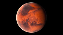 Flying Over The Red Surface Of The Planet Mars, Computer Generated. 3d Rendering Of Realistic Cosmic Background. Elements Of This Image Are Presented By NASA