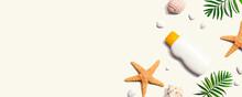Sunblock Bottle With Starfish And Seashells