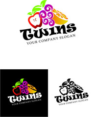 twins fruit logo, logotype, fruit, shop