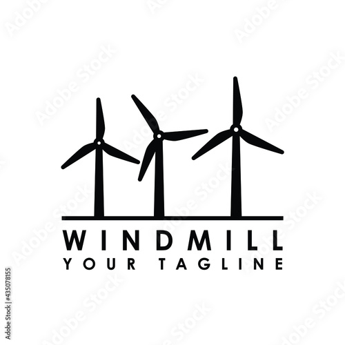 Foto windmill country side logo design vector