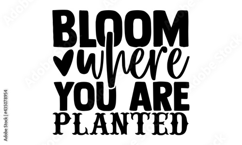 Fotografija Bloom where you are planted - Spring t shirts design, Hand drawn lettering phras