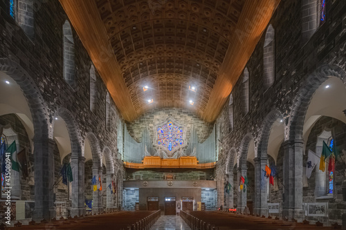 Obraz na plátně Vaulted ceiling and stone interior of Galway Cathedral, a Roman Catholic church in the Irish town of Galway, Ireland