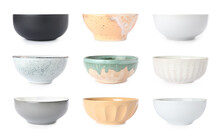 Set With Empty Ceramic Bowls On White Background