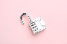 Modern Combination Lock On Pink Background, Top View