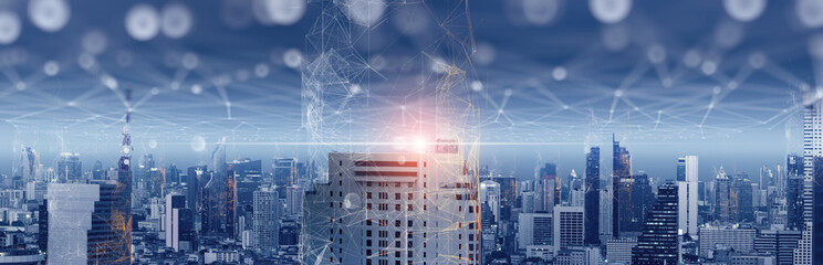 5G smart wireless digital city and social media networking systems.Concept of smart digital city with globalization abstract graphic showing connection networkand social media networking systems.