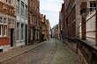 Maastricht, Netherlands - November 8, 2020: Old town street in the center of Maastricht.