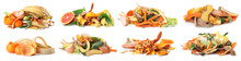 Set With Organic Waste For Composting On White Background. Banner Design