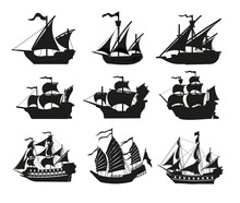 Pirate Boats And Old Different Wooden Ships With Fluttering Flags. Vector Set Old Shipping Sails Traditional Vessel Pirate Symbols Garish Vector Illustrations.Black Silhouettes Collection Set