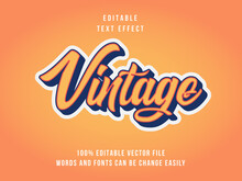 Editable Vintage Text Effect With Orange Background
