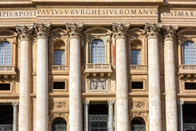 Facade Of  Saint Peter's Basilica. Balcony Called The The Blessing Lodge, Vatican, Rome, Italy