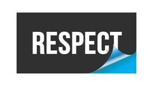 RESPECT Text Written On Black Blue Sticker.