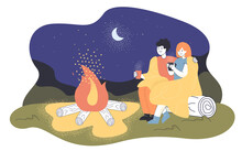 Cartoon Loving Couple Sitting By Fire At Night. Flat Vector Illustration. Man And Woman Hugging, Sitting On Log, Drinking Tea, Warming Up By Fire Under Moon. Nature, Romance, Walking Holiday Concept