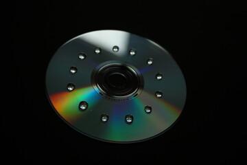 Płyta CD z kroplami wody