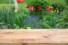 Empty Wooden Table With Free Space Among Flowers In The Garden, Green Blurred Background. For Product Display Montage.