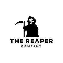 Black Skull Angel Of Death With Scythe Logo Design Vector Icon Cartoon Logo Mascot Illustration