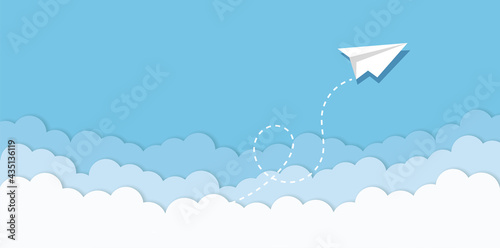 Blue sky with paper plane flying and clouds vector background. Creative carton border of clouds. Airy atmosphere stylish design. Vector illustration.