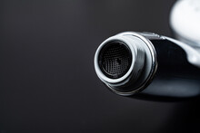 Fastening Of Shower Head On A Black Background. Shower And Bathroom Accessories.