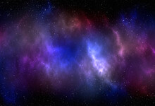 Space Background With Stardust And Shining Stars. Realistic Cosmos And Color Nebula. Colorful Galaxy. 3d Illustration