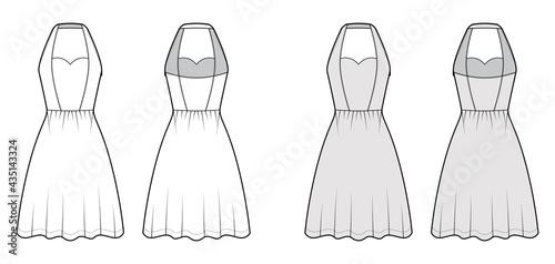 Dress halterneck technical fashion illustration with sleeveless, fitted body, knee semi-circular length skirt Fototapeta