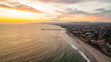 Aerial View Of San Clemente Sunset And Pier, California Coast