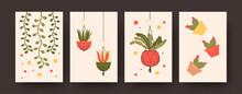 Set Of Contemporary Art Posters With Flowers In Hanging Baskets. Cactuses In Pots Vector Illustrations In Pastel Colors. Houseplants Concept For Kitchen Or Living Room Designs, Social Media, Postcards