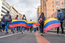 Bogota, Colombia,  May 22, 2021 Demonstration Against Government Reforms And Police Violence