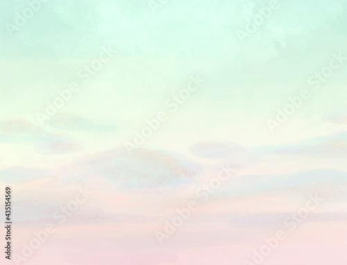 Tela 薄緑とピンクの空