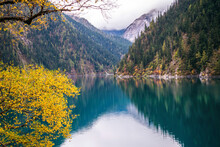 The Perl Of Jiuzhaigou __ Long Lake Is The Biggest & Deepest Lake In Jiuzhaigou. On Clear Days Its Dark Wooded Hillsides & Blue Waters Are Viewed Against The Backdrop Of The 5000m/16.400ft Snow Capped