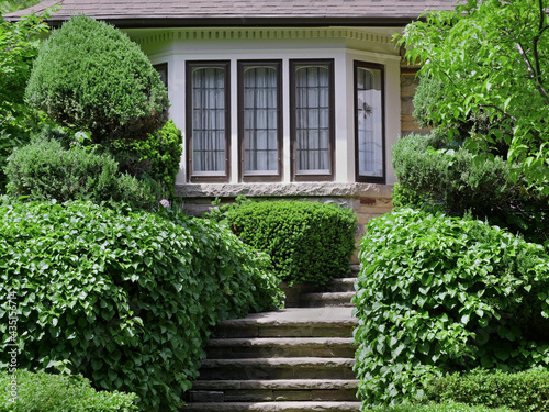 Fotografija Steps leading to front door of house, surrounded by dense shrubbery