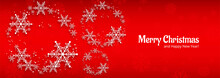 Christmas Card Celebration Banner For Snowflake Red Background