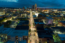 Des Moines East Village Aerial Photo Night Drone Long Exposure