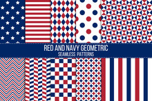 Red And Navy Geometrical Patriotic Seamless Patterns Set