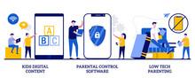 Kids Digital Content, Parental Control Software, Low Tech Parenting Concept With Tiny People. Children Media Access Vector Illustration Set. Screen Time, Gadget-free Parenting, Online Apps Metaphor