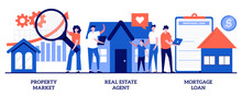 Property Market, Real Estate Agent, Mortgage Loan Concept With Tiny People. Buying Property Vector Illustration Set. New Apartment, Property Investment, Bank Credit, Down Payment, Pay Off Metaphor
