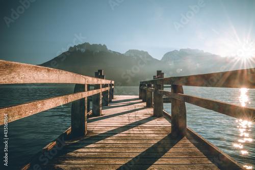 Stampa su Tela Ponton de Saint Jorioz, lac d'Annecy