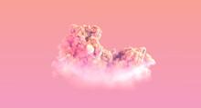One Pink Sunrise Large Cumulus Cloud , Conceptual Nature 3D Rendering