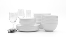 Set Clean Dishes Glasses On White