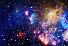 Star Dust And Pixie Dust Glitter Space Backdrop. Space Stars And Planet Conceptual Image. Elements Of This Image Furnished By NASA.